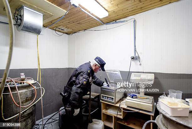 Amphetamine is found at a premise during a police raid in Moergestel, southern Netherlands, on April 4, 2016. The location is one of a string of...