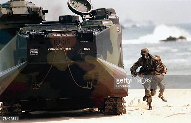 Amphibious assault vehicle and soldiers