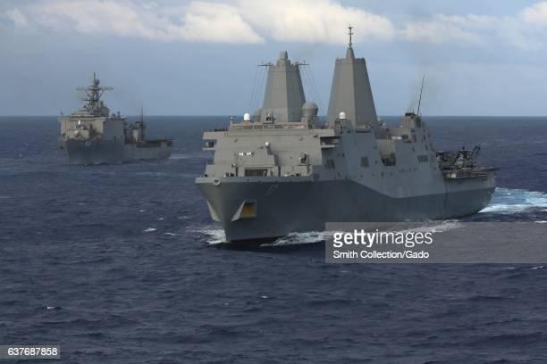 Amphibious transport dock ship USS San Antonio amphibious dock landing ship USS Carter Hall and amphibious assault ship USS Kearsarge both part of...