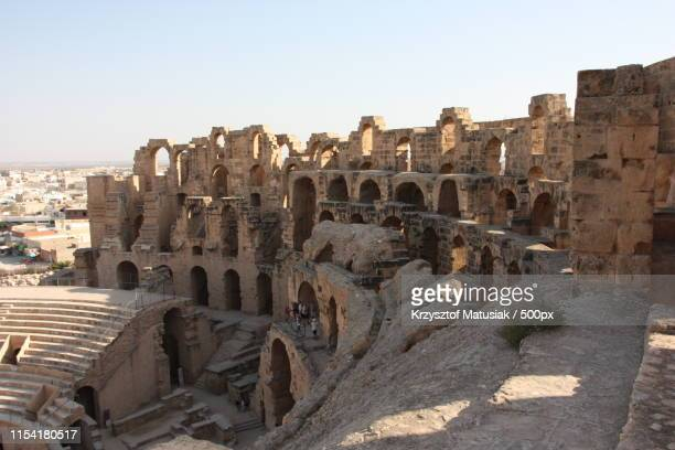 amphitheater of el jem - tunisia - tunisia stock pictures, royalty-free photos & images