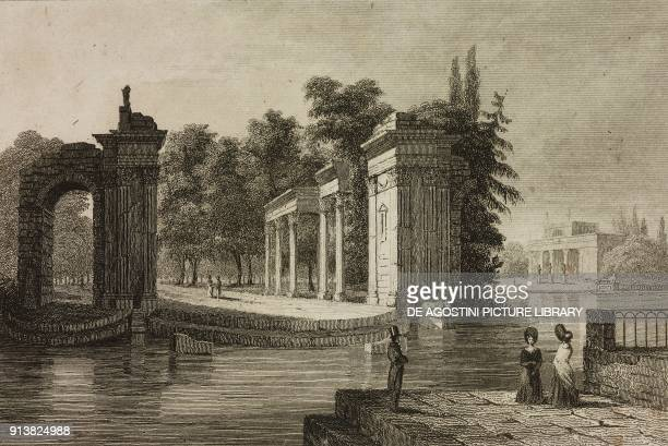 Amphitheater on the isle in Lazienki Park Warsaw Poland engraving by Lemaitre and Cholet from Pologne by Charles Foster L'Univers pittoresque Europe...