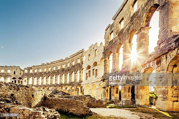 amphitheater pula,croatia landmark - amphitheatre stock photos and pictures