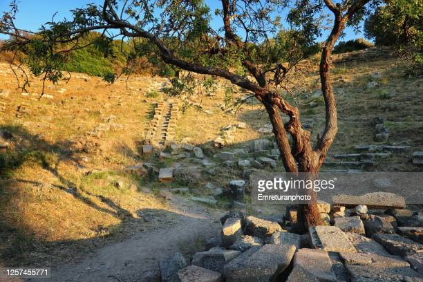 amphitheater view of erythrai ancient city at sunset,aegean turkey. - emreturanphoto stock pictures, royalty-free photos & images