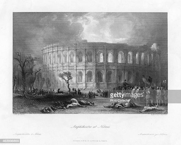 'Amphitheatre at Nismes' France 19th century Built at the end of the first century AD the amphitheatre of the city Nimes was among the biggest in...