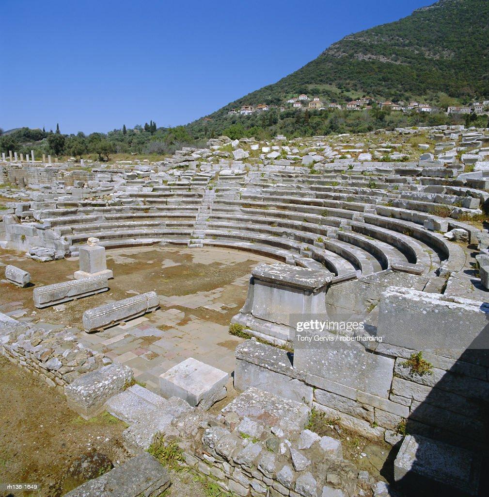 Amphitheatre at Sanctuary of Zeus, Mavromati Ithomi, Peloponese, Greece : Foto de stock