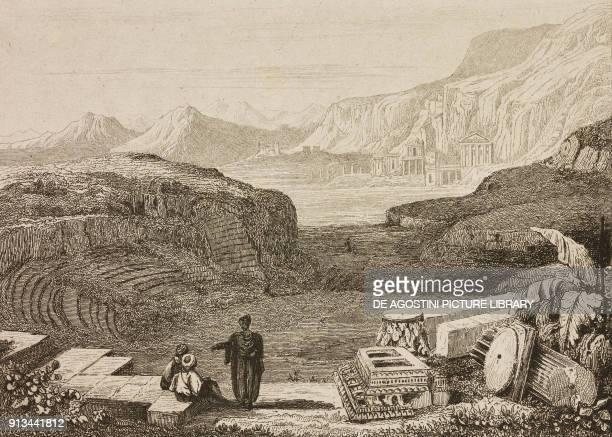 Amphitheatre in Petra Jordan engraving from Arabie by Noel Desvergers avec une carte de l'Arabie et note by Jomard L'Univers pittoresque published by...