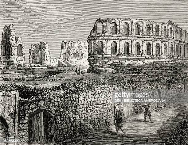 Amphitheatre of El Djem the Thysdrus of the Romans The French Occupation of Tunis Tunisia illustration from the magazine The Graphic volume XXIV no...
