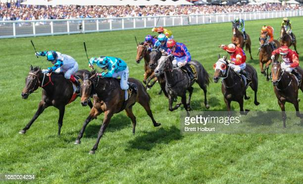 Amphitrite ridden by Craig Williams wins the Schweppes Thousand Guineas at Caulfield Racecourse on October 13 2018 in Caulfield Australia