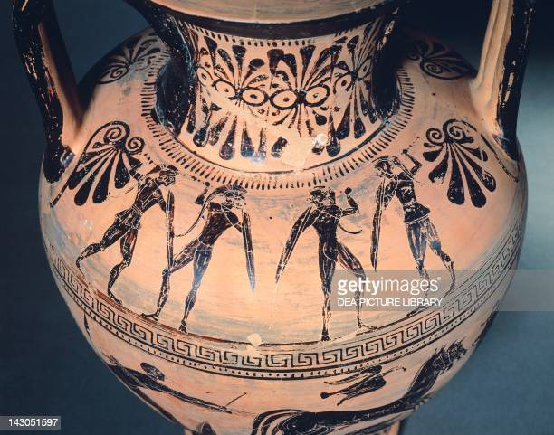 Amphora by the Micali Painter detail Blackfigure pottery Etruscan Civilisation 6th Century BC Copenhagen Ny Carlsberg Glyptotek