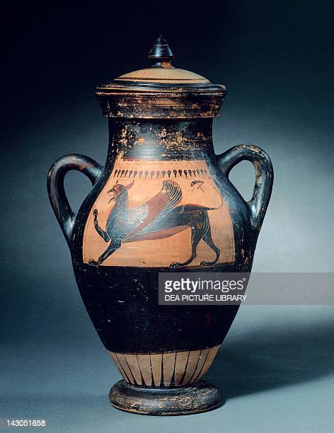 Amphora from the Ivy Leaf Group viewed from the side depicting a griffin Blackfigure pottery Etruscan Civilisation ca 530 BC Copenhagen Ny Carlsberg...