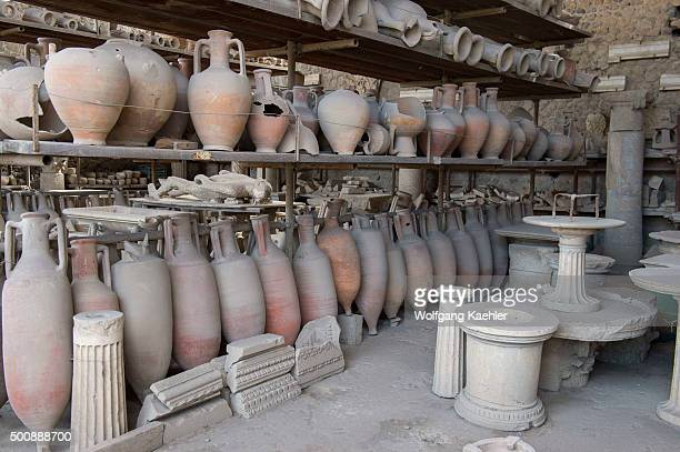 Amphora storage in Pompeii near modern Naples in the Italian region of Campania