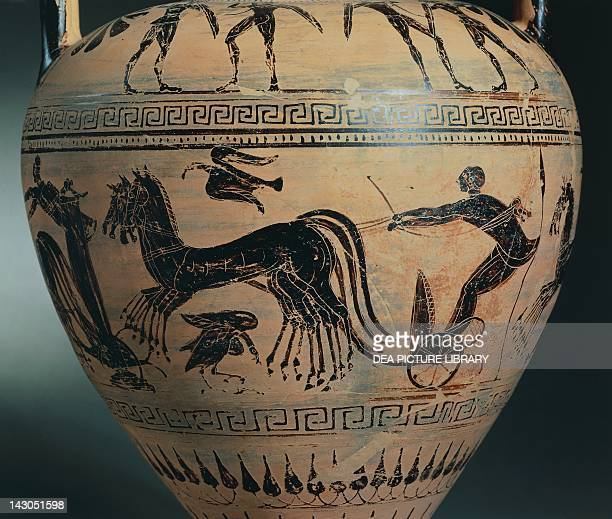 Amphora with detail of a chariot by the Micali Painter Blackfigure pottery Etruscan Civilisation 6th Century BC Copenhagen Ny Carlsberg Glyptotek