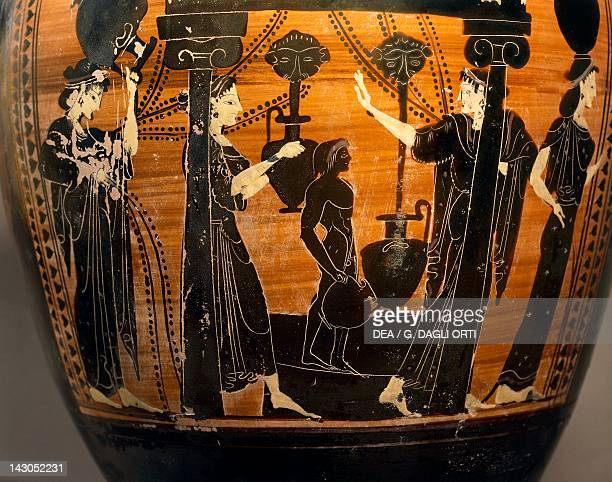 Amphora with representation of women at the source with amphorae and a little child Attic blackfigure Italy Detail Ancient Greek civilization Magna...