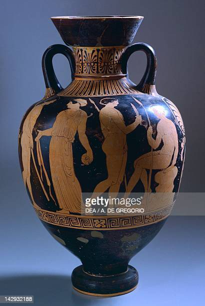 Amphora with scenes of everyday life redfigure pottery from Apollonia Albania Greek civilization 5th Century BC Apollonia Museo Archeologico