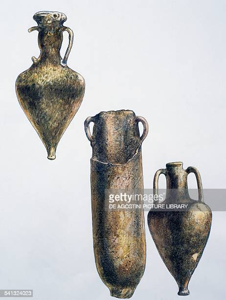 Amphorae found on the Porticello shipwreck a Greek ship which sank in the Strait of Messina in Porticello drawing Calabria Italy Greek civilisation...