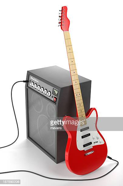 amplifier and electric guitar - electric guitar stock pictures, royalty-free photos & images