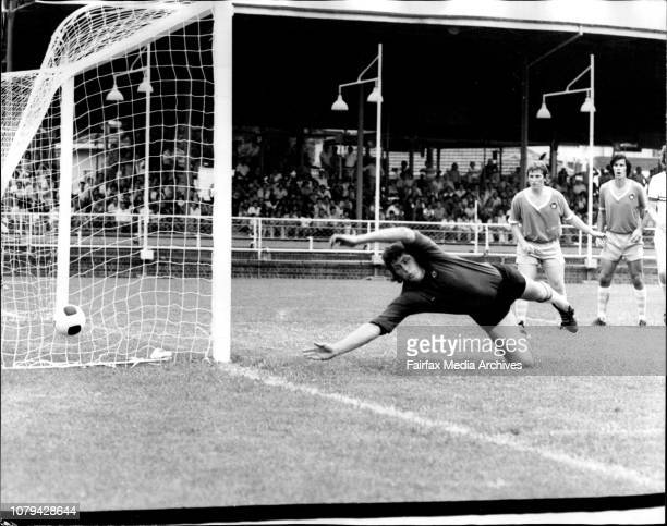 Ampol Cup soccer at Wentworth ParkSt George V's SutherlandThe Sutherland goalkeeper dives for a wide shot February 01 1976