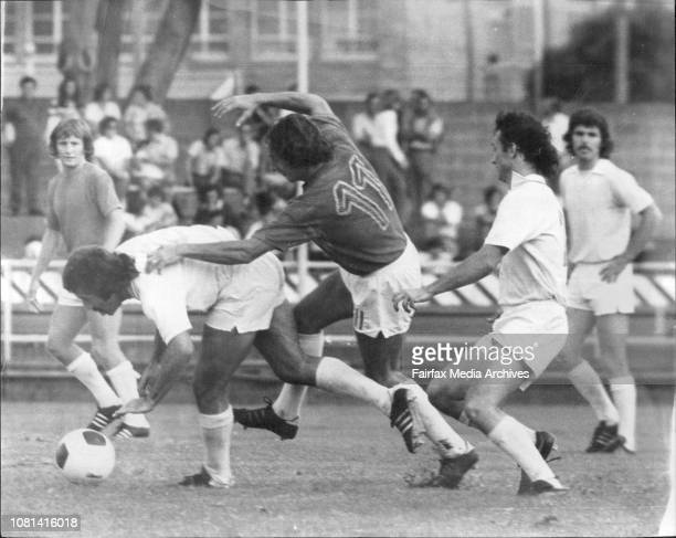 Ampol Cup Soccer qt Wentworth ParkSt George Budapest Vs Marconi FairfieldA touch of Ruby at Soccer matchNo 11 Stoddart from St George in clash with...