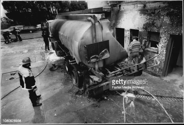 Ampol Petrol tanker which caught fire and exploded this morning at a Pymble station Then driver escaped with minor injuries petrolFire officers...