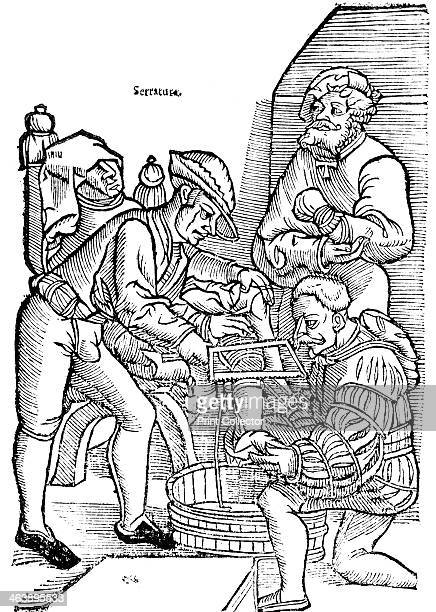 Amputation of a leg without anaesthetic 1593 A surgeon uses a bowsaw to remove a patient's leg blow the knee while his assistant holds the foot In...