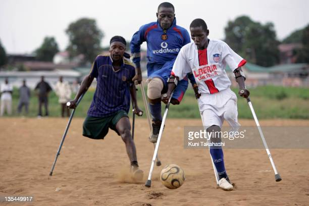 Amputee football players practice at the field April 25 2008 in Monrovia Liberia Although the Liberian National team won the 2008 All Africa Amputee...