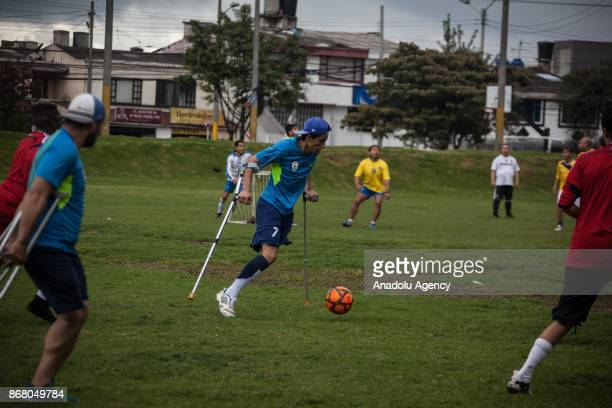 Amputee soccer players from Colombia are seen during training period at the Public sports grounds in Bogota Colombia on October 29 2017 The public...