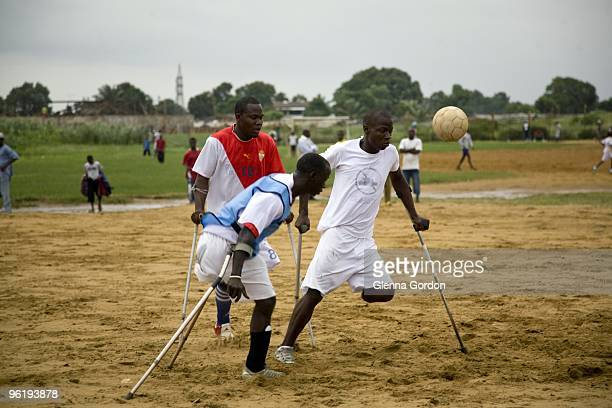 Amputee Soccer players play in a pickup game on June 16 2009 in Monrovia Liberia During Liberia's fourteen year civil war many people including child...