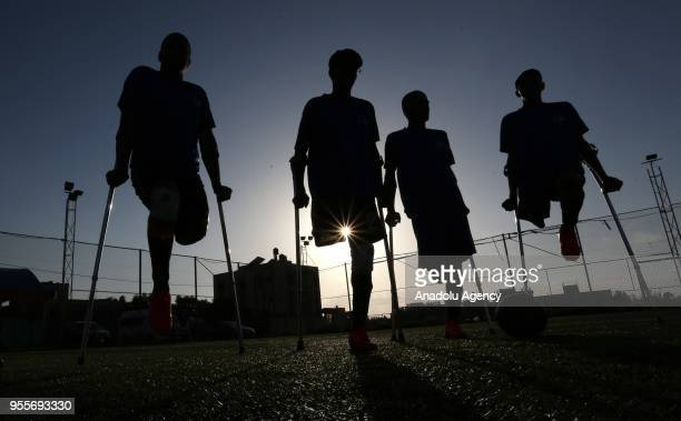 Amputee soccer players who lost their legs during Israel's assaults towards Gaza of The Crutches which is Gaza's first soccer team for amputees...