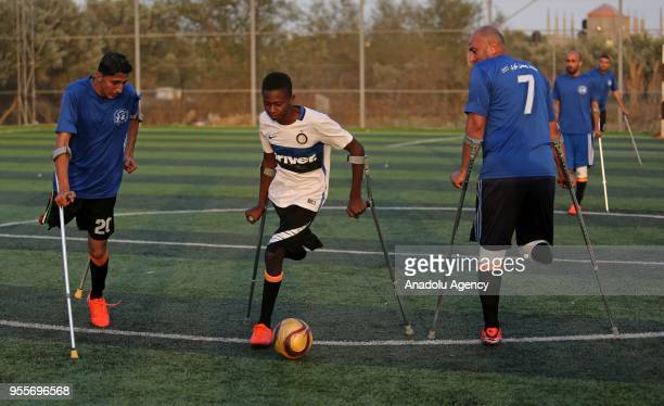 Amputee soccer players who lost their legs during Israel's assaults towards Gaza of 'The Crutches' which is Gaza's first soccer team for amputees...
