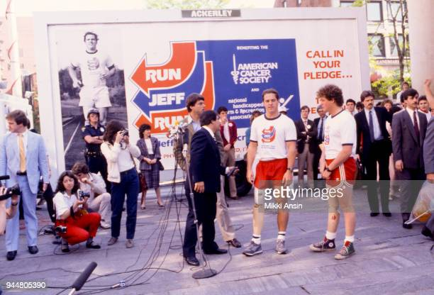 Amputee Ted Kennedy Jr and amputee Jeff Keith raise money for American Cancer Society in Jeff Keith's Run Across America on June 4 1984 in Boston...