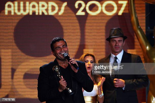 Amr Diab receives the award for Best Selling Middle Eastern Artist at the World Music Awards 2007 at the Monte Carlo Sporting Club on November 4 2007...