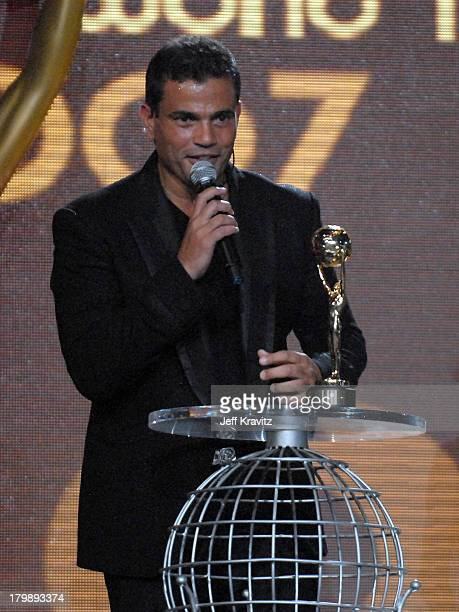 Amr Diab with the award for Best Selling Middle Eastern Artist during the 2007 World Music Awards held at the Monte Carlo Sporting Club on November 4...