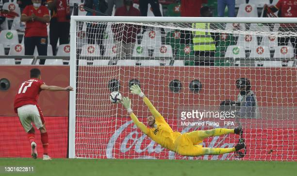 Amr El Solia of Al Ahly SC has their penalty saved by Weverton of SE Palmeiras during the FIFA Club World Cup Qatar 2020 3rd Place Play off match...