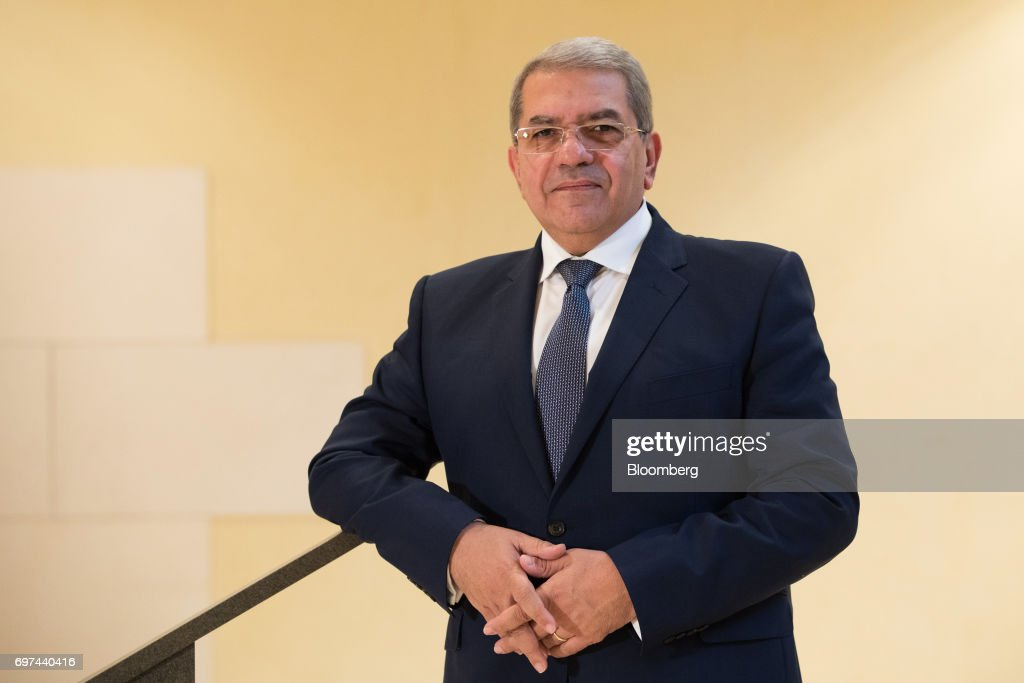 Amr El-Garhy, Egypt's finance minister, poses for a photograph following a Bloomberg Television interview on the sidelines of the Asian Infrastructure Investment Bank (AIIB) annual meeting in Jeju, South Korea, on Friday, June 16, 2017. Egypt's government isn't worried that high interest rates will have a negative impact on economic growth andthe budget deficit because rates 'should not stay there in a high level for a long time,' El-Garhy said. Photographer: SeongJoon Cho/Bloomberg via Getty Images