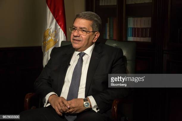 Amr ElGarhy Egypt's finance minister speaks during a Bloomberg Television interview in Cairo Egypt on Sunday April 29 2018 ElGarhy spoke about the...