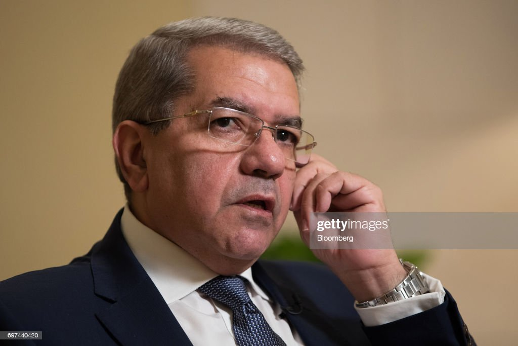 Amr El-Garhy, Egypt's finance minister, speaks during a Bloomberg Television interview on the sidelines of the Asian Infrastructure Investment Bank (AIIB) annual meeting in Jeju, South Korea, on Friday, June 16, 2017. Egypt's government isn't worried that high interest rates will have a negative impact on economic growth andthe budget deficit because rates 'should not stay there in a high level for a long time,' El-Garhy said. Photographer: SeongJoon Cho/Bloomberg via Getty Images