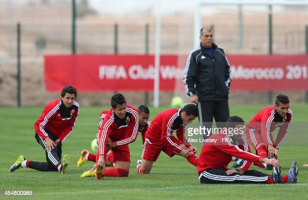 Amr Gamal of Al Ahly Sport Club stretches prior to a training session at the Agadir Stadium on December 10 2013 in Agadir Morocco
