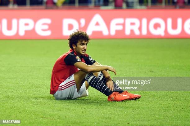 Amr Medhat Mohsen Warda of Egypt looks dejected during the African Nations Cup Final match between Cameroon and Egypt at Stade de L'Amitie on...