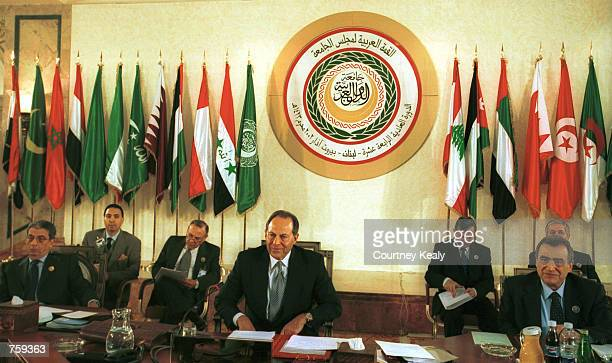 Amr Moussa General Secreatary of the Arab League Lebanese President Emile Lahoud and Lebanon's Foreign Minister M Mahmoud Hamoud participate in the...