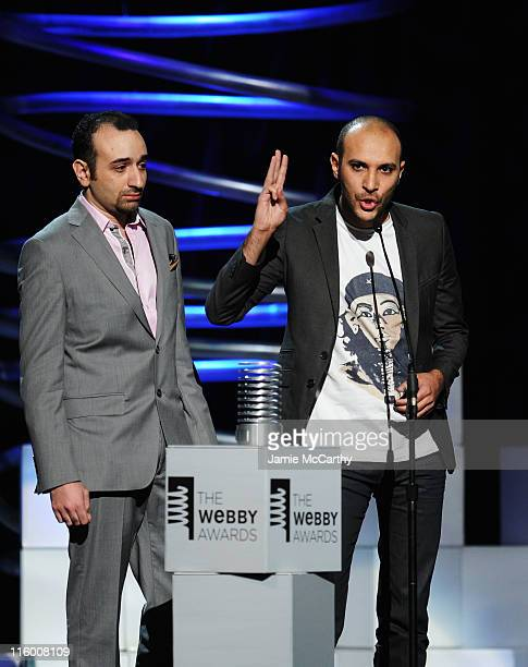 Amr Salama and Muhamed Diab accept their award onstage during the 15th Annual Webby Awards at Hammerstein Ballroom on June 13 2011 in New York City