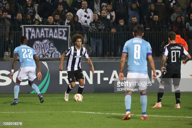 STADIUM THESSALONIKI GREECE Amr Warda headbutt in action during the game FC PAOK vs MOL Vidi FC played at Toumba stadium for the UEFA Europa League...
