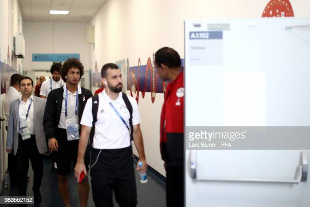 Amr Warda of Egypt arrives at the stadium prior to the 2018 FIFA World Cup Russia group A match between Saudia Arabia and Egypt at Volgograd Arena on...