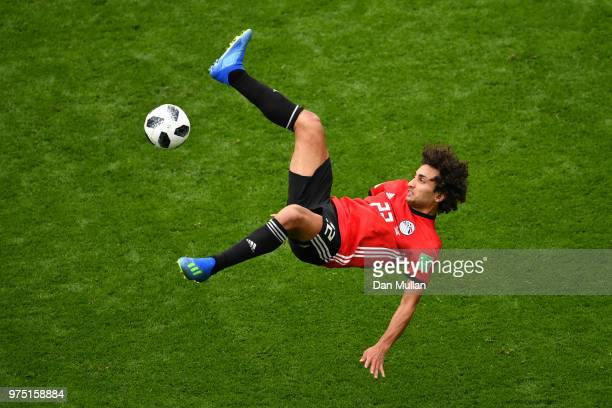 Amr Warda of Egypt attempts an overhead kick during the 2018 FIFA World Cup Russia group A match between Egypt and Uruguay at Ekaterinburg Arena on...