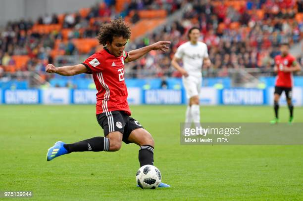 Amr Warda of Egypt crosses the ball during the 2018 FIFA World Cup Russia group A match between Egypt and Uruguay at Ekaterinburg Arena on June 15...
