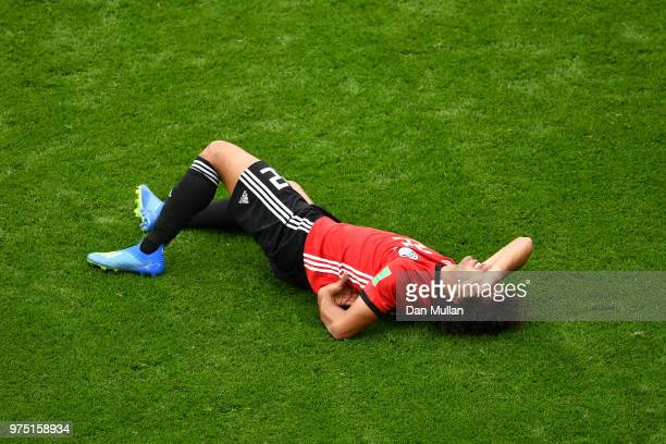 Amr Warda of Egypt goes down during the 2018 FIFA World Cup Russia group A match between Egypt and Uruguay at Ekaterinburg Arena on June 15 2018 in...