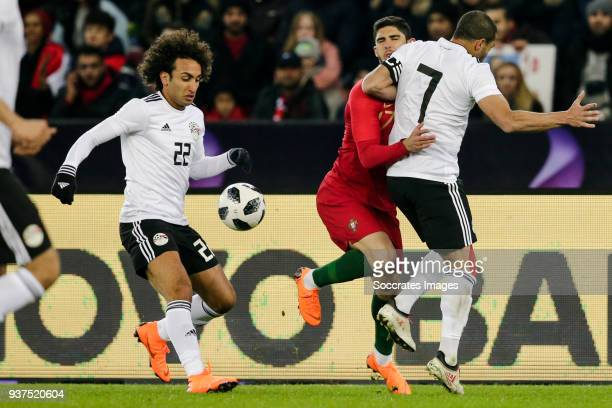 Amr Warda of Egypt Goncalo Guedes of Portugal Ahmed Fathi of Egypt during the International Friendly match between Egypt v Portugal at the Letzigrund...