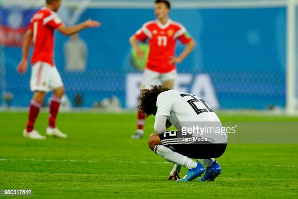 Amr Warda of Egypt laments his team's defeat against Russia after the 2018 FIFA World Cup Russia group A match between Russia and Egypt at Saint...