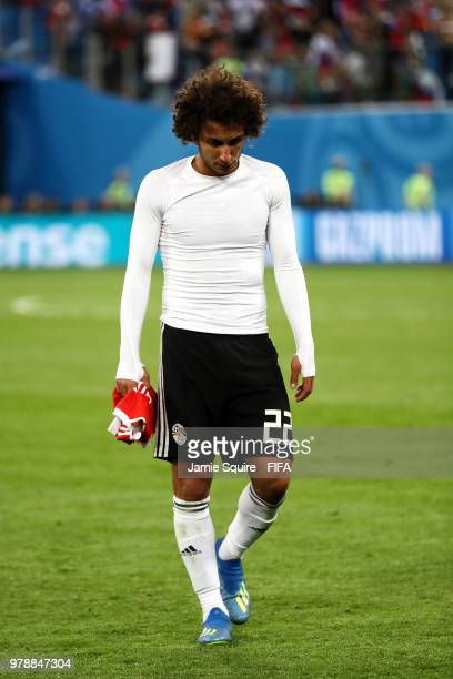 Amr Warda of Egypt looks dejected after the 2018 FIFA World Cup Russia group A match between Russia and Egypt at Saint Petersburg Stadium on June 19...