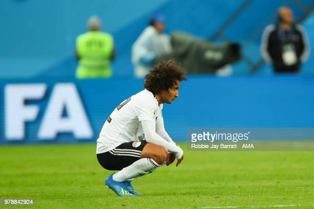 Amr Warda of Egypt looks dejected at the end of the 2018 FIFA World Cup Russia group A match between Russia and Egypt at Saint Petersburg Stadium on...