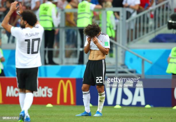Amr Warda of Egypt looks dejected at the end of the 2018 FIFA World Cup Russia group A match between Saudi Arabia and Egypt at Volgograd Arena on...